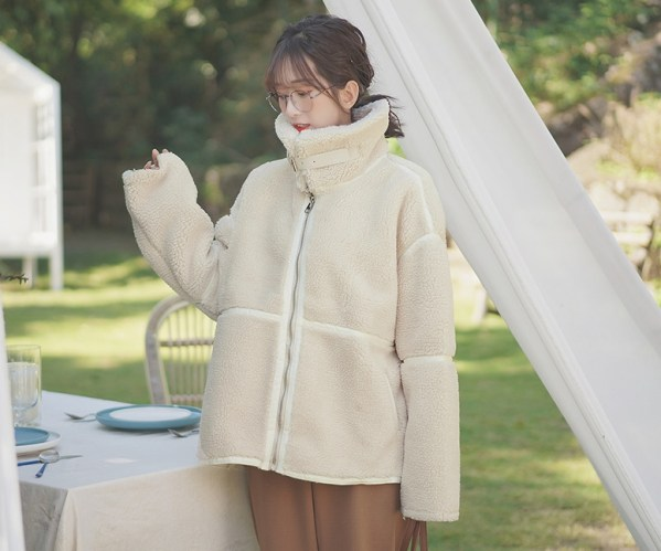Stand Collar Student Wool Coat