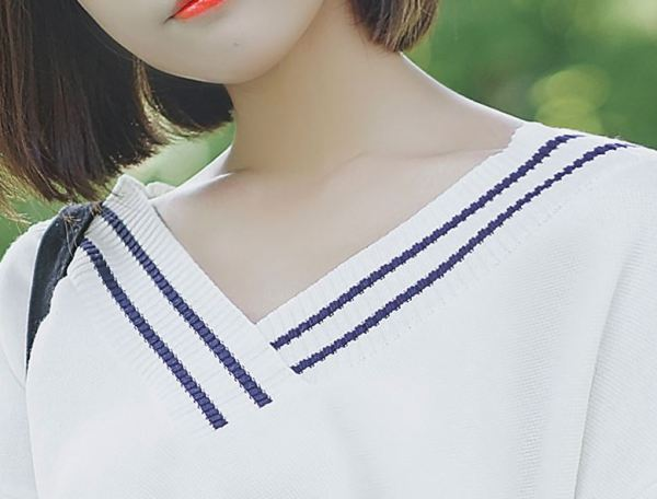Student V-Neck Sweater with Stripe Detail on Collar