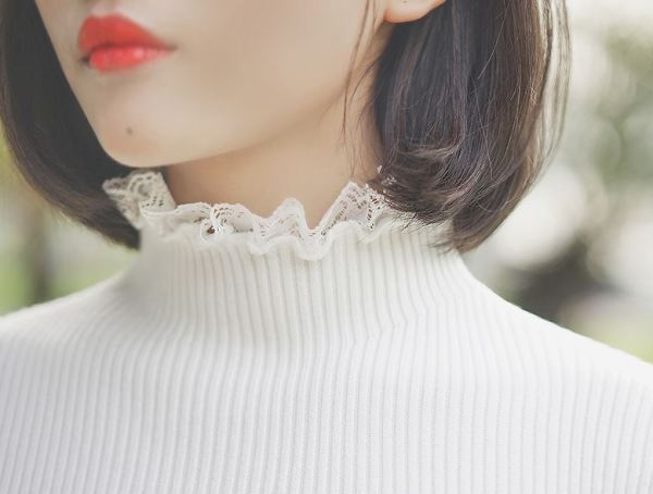 Sweater With Lace Turtleneck and Sleeves