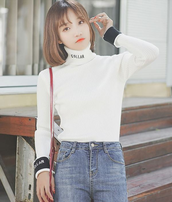 Turtleneck with Coloured Cuffs