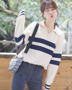 V-Neck Collared Sweater with Stripes