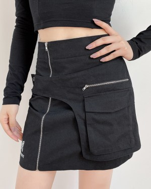 Yuqi Black High Waist Skirt With Pocket (4)