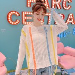 Hollow Knit Sweater With Colorful Tassels | Chungha