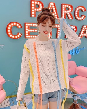 Chungha Hollow Knit Sweater With Colorful Tassels (9)