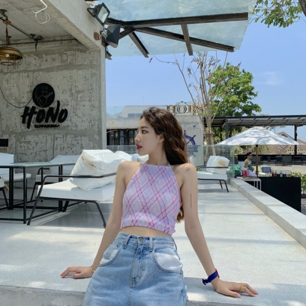 Halter Patterned Crop Top | Hyuna