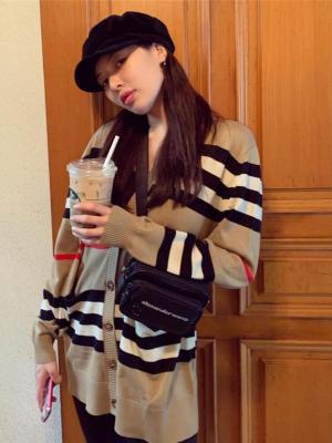 Striped Retro Style Knitted Cardigan | Hyuna