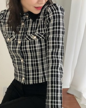 Jennie Collared Plaid Shirt Jacket (1)