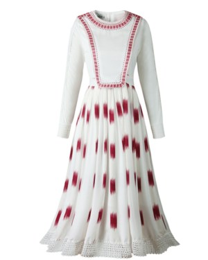 Jisoo Red Square Patterned Dress (1)