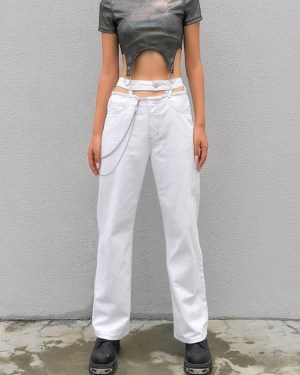 Lisa White Pants With Waist Cut-out (8)