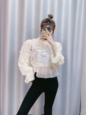 Miyeon Sequined Ruffled Collar Blouse (15)