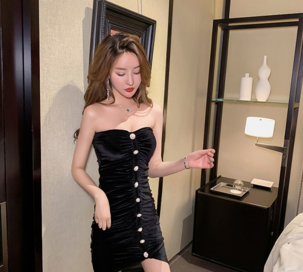 Black Velvet Tube Dress | Nayeon – Twice