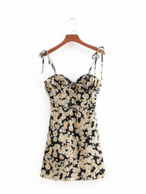 Rose Flower Print Cami Black Dress (1)