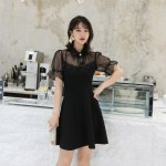 Black Lace Short Sleeve Dress | Sana – Twice