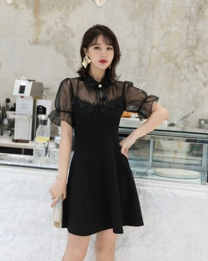 Sana Black Lace Short Sleeve Dress (10)