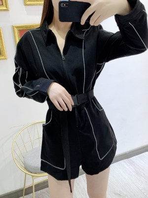 Soojin Outlined Black Zipper Belted Bodysuit (15)