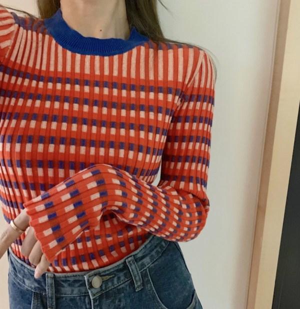 Striped Grid Long Sleeve Sweater | Wendy – Red Velvet