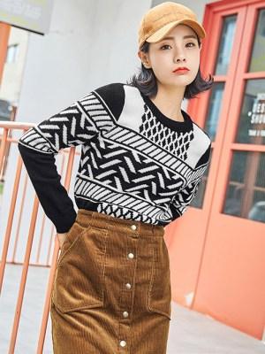 Baekhyun Patterned Black & white Sweater 6