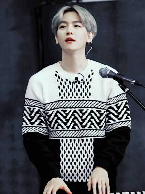 Patterned Black and White Sweater | Baekhyun – EXO
