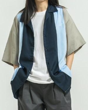 Bang Chan Square Collar Two Tone Short Sleeve Shirt 0