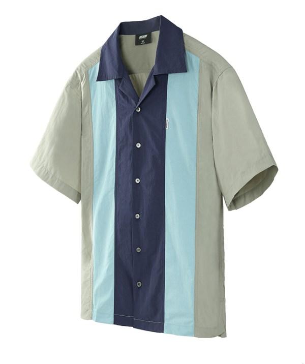 Square Collar Two Tone Short Sleeve Shirt | Bang Chan – Stray Kids