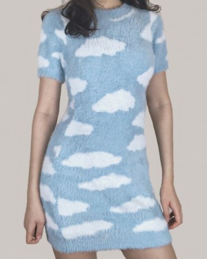 Chaeyoung Sky Clouds Short Dress (1)