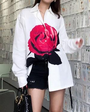 Felix Big Red Rose Long Sleeve Shirt 1
