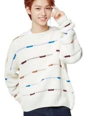 Intermittent Lines Round Neck Sweater | Felix – Stray Kids
