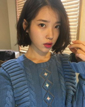 Blue Ruffled Floral Knit Sweater | IU