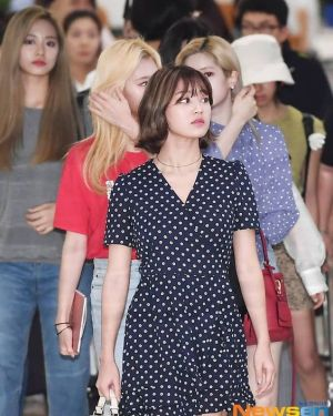Polka Dots V-neck Dress | Jihyo – Twice