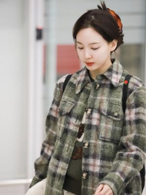 Woolen Plaid Coat | Nayeon – Twice