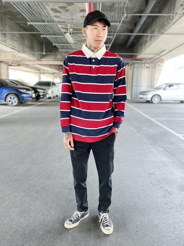 Striped Polo Long Sleeve Shirt | Mark – NCT