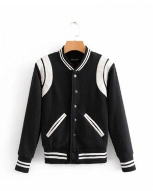 Rose White Lined Black Baseball Jacket (1)