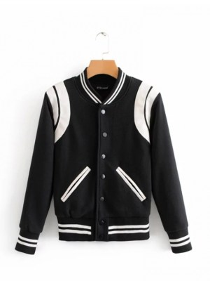 Rose White Lined Black Baseball Jacket (1)