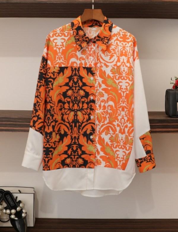 Orange Gold Floral Pattern Shirt   Seo Dan – Crash Landing On You