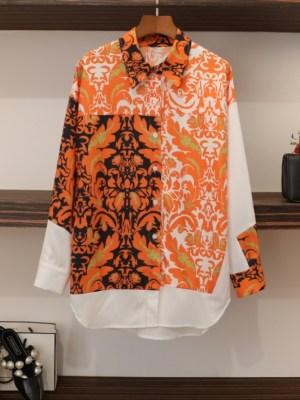 Seo Dan Orange Gold Floral Pattern Shirt (21)