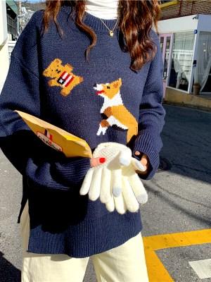 Woojin Dog Catching Bear Blue Sweater 0