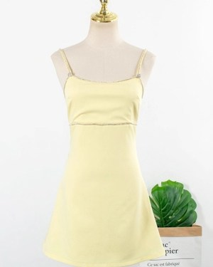Yoon Se Ri Yellow Cami Sleeveless Dress (1)