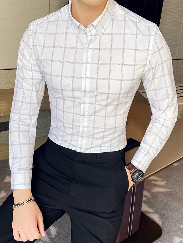 Fine White Lined Shirt | Chanyeol – EXO