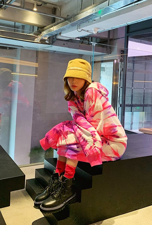Respect Tie-dye Oversized Hoodie | Chungha