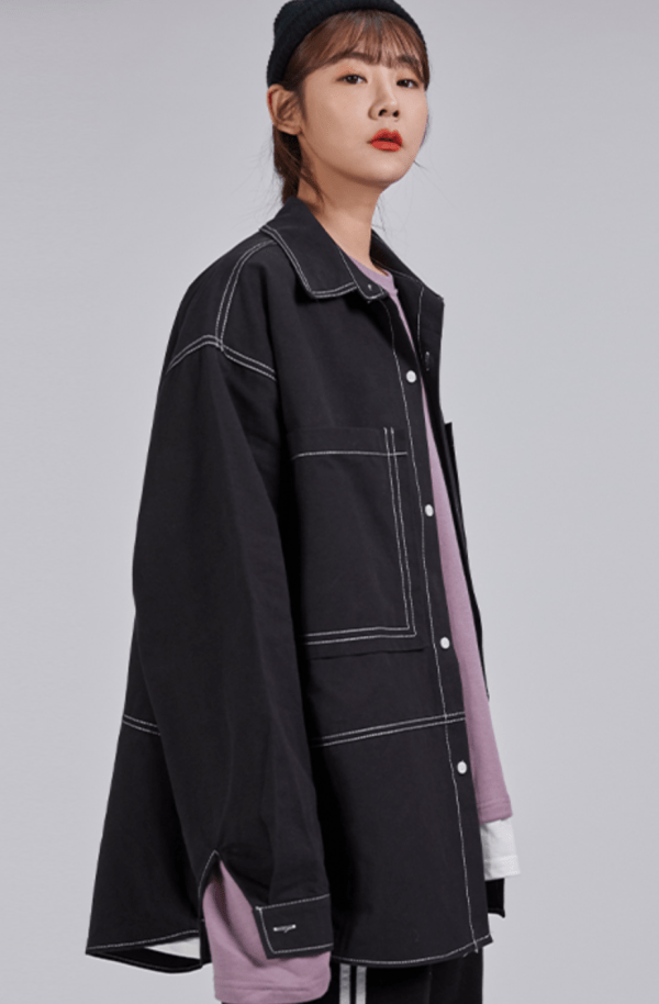 Black Denim Long Sleeve Shirt | Jang Geun Soo – Itaewon Class