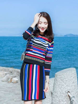 Jennie Colorblock Knitted Sweater and High Waist Skirt Set 00010