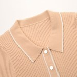 Tan Rib Knit Short Sleeve Shirt | Jennie – Blackpink