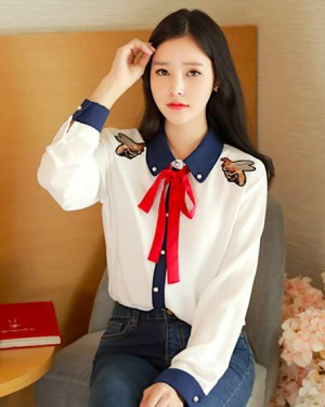 Jennie Twin Bee Embroidered Long Sleeve Shirt 2