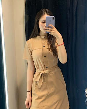 Jisoo Band Collar Tan Colored Belted Dress 7