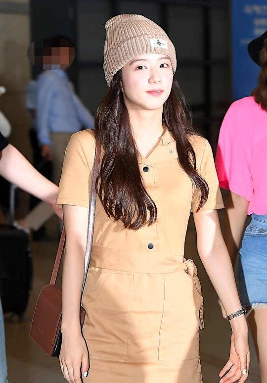 Band Collar Tan Colored Belted Dress | Jisoo – Blackpink