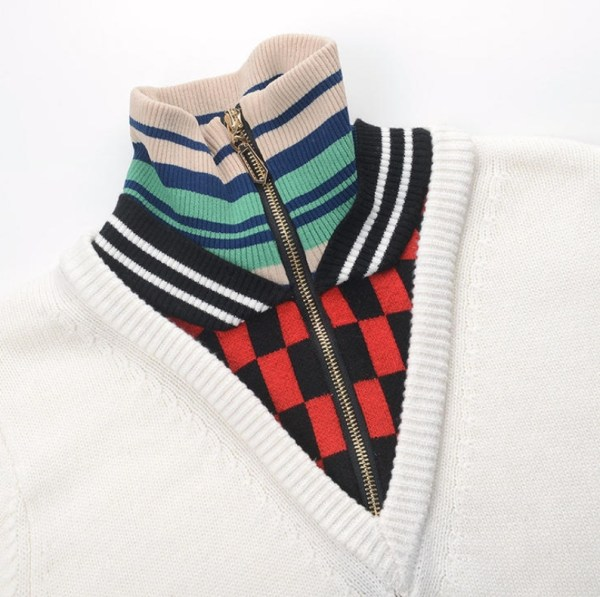 High Collar Zippered Striped Sweater | Seulgi – Red Velvet