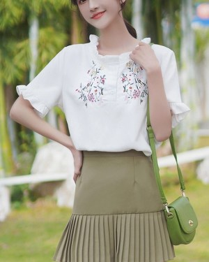 Bell Sleeved T-Shirt With Floral Print (1)
