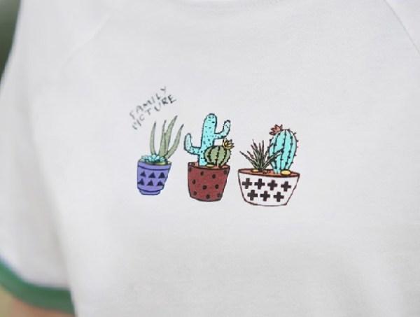 Cactus Print Round Neck T-Shirt