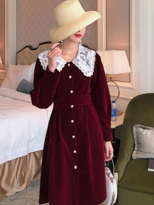 Chaeyoung Red Velvet Lace Collar Dress (5)