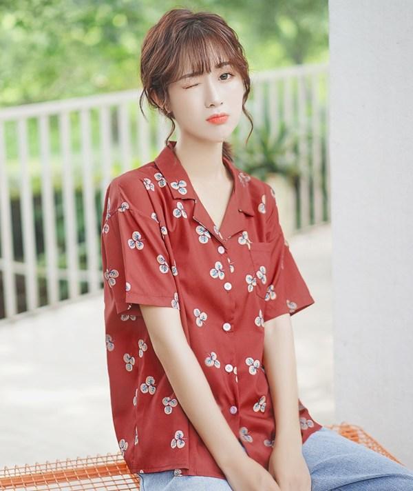 Clover Print Maroon Shirt